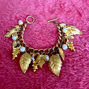 "Gold ""Fall"" bracelet. Leaves and pearls . Georgiou"